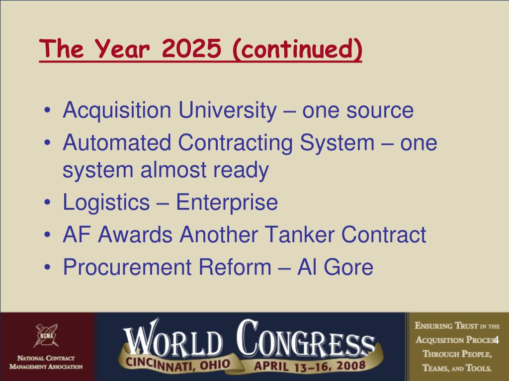 The Year 2025 (continued)
