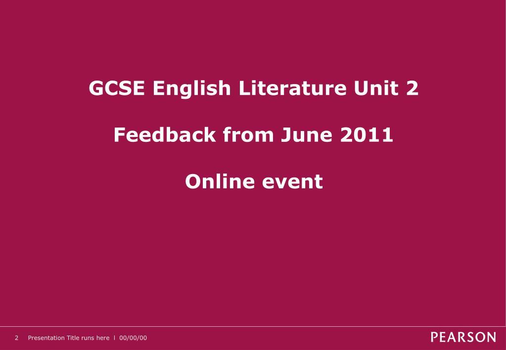 GCSE English Literature Unit 2