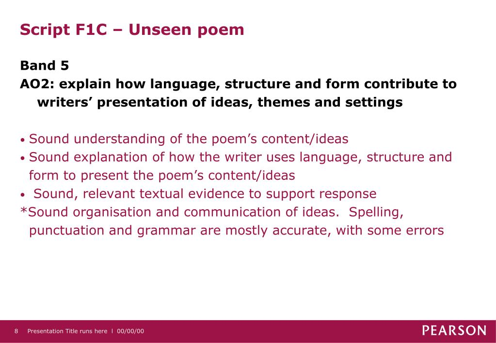 Script F1C – Unseen poem