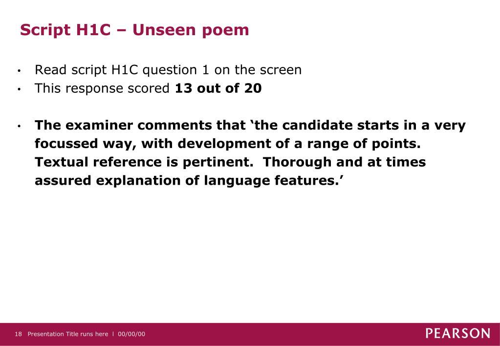 Script H1C – Unseen poem