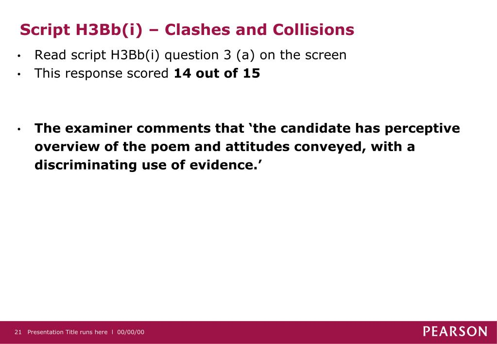 Script H3Bb(i) – Clashes and Collisions