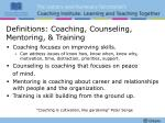 definitions coaching counseling mentoring training