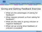 giving and getting feedback exercise
