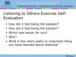 listening to others exercise self evaluation