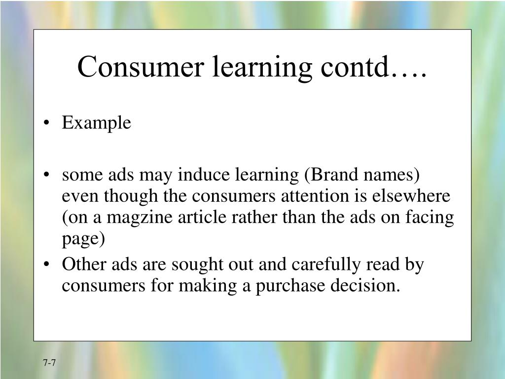 Consumer learning contd….