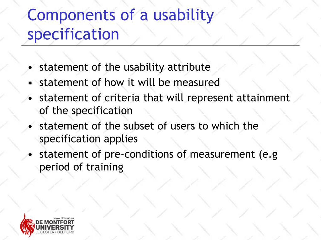 Components of a usability specification