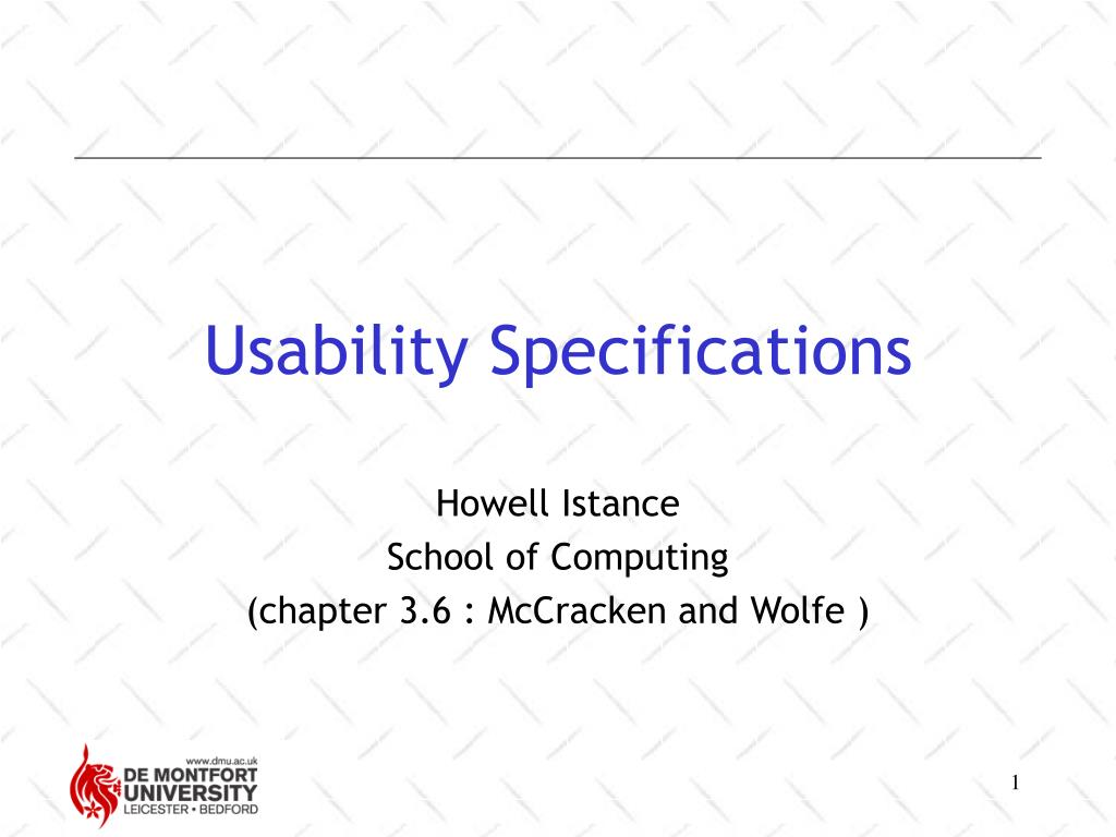 Usability Specifications