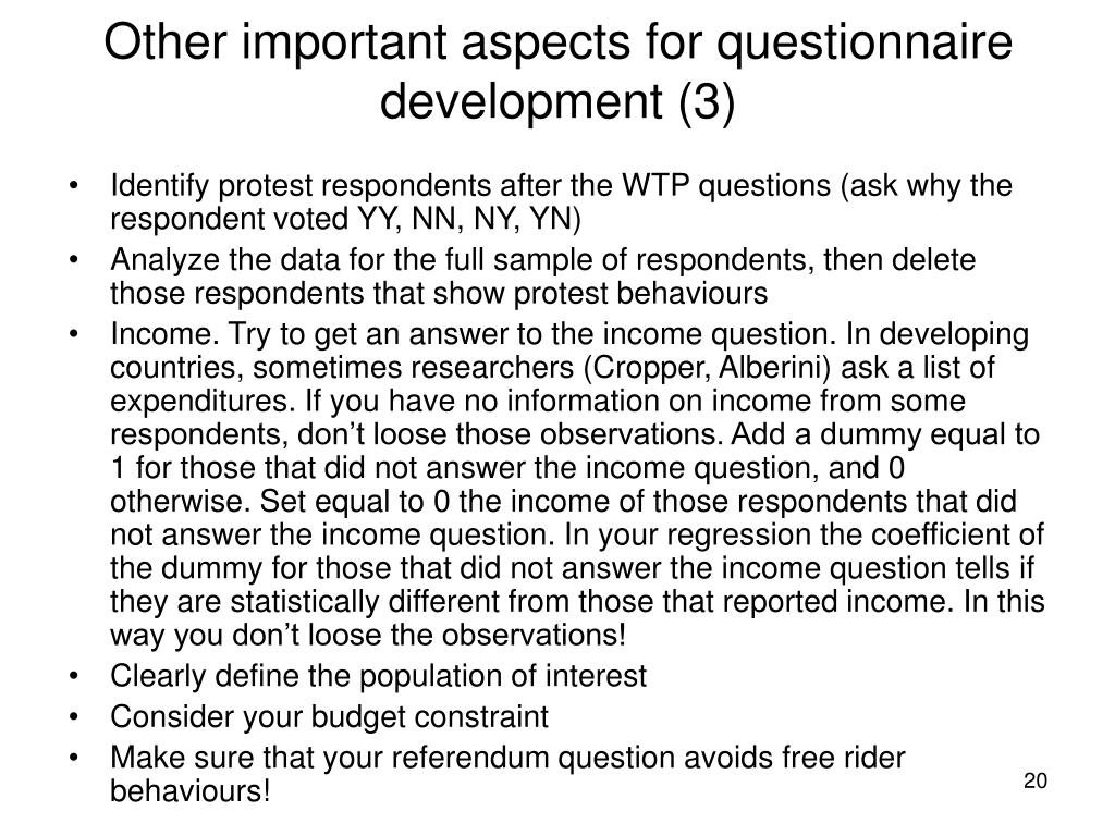 Other important aspects for questionnaire development (3)