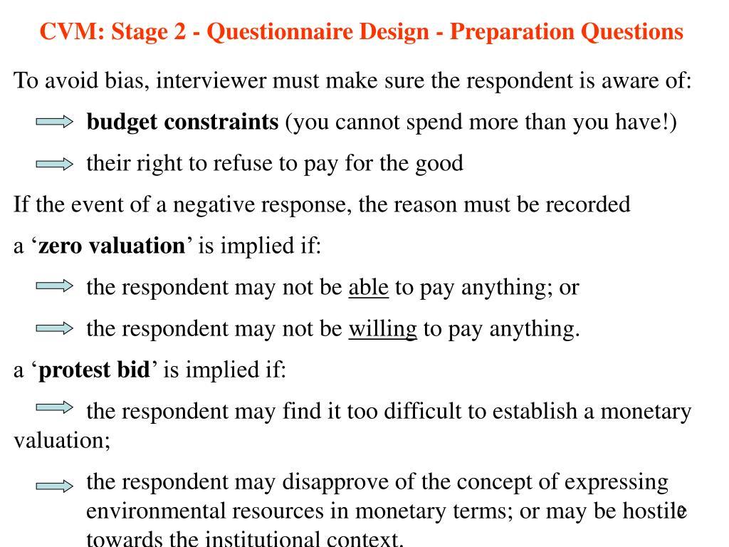 CVM: Stage 2 - Questionnaire Design - Preparation Questions