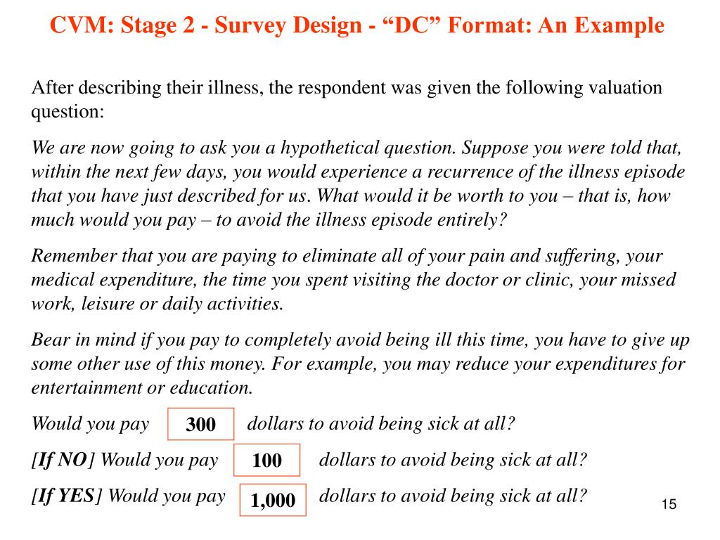 """CVM: Stage 2 - Survey Design - """"DC"""" Format: An Example"""