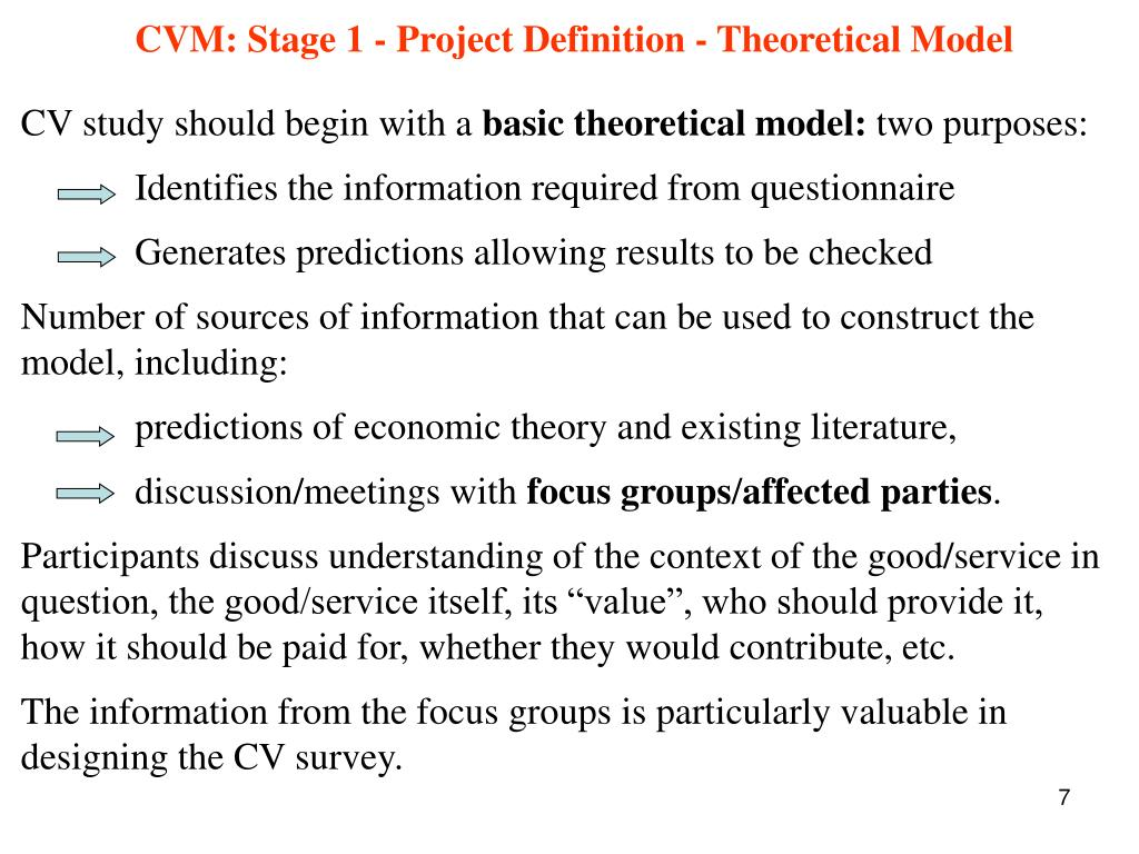 CVM: Stage 1 - Project Definition - Theoretical Model