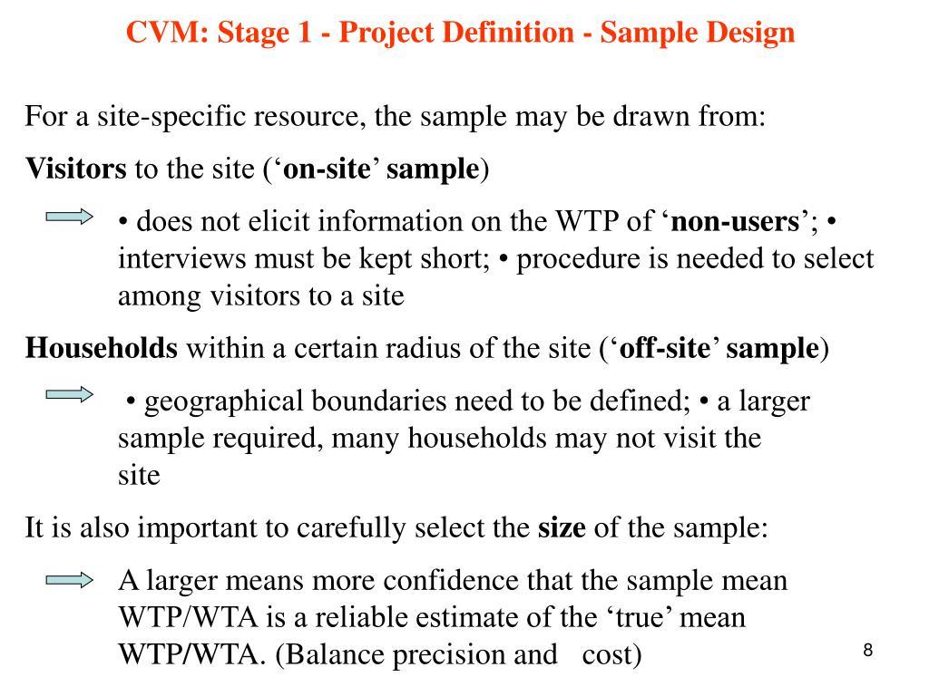 CVM: Stage 1 - Project Definition - Sample Design