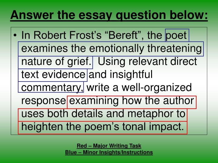poet presentation - robert frost essay One of the most celebrated poets in america, robert frost was an author of searching and often dark meditations on universal themes and a quintessentially modern poet in his adherence to language as it is actually spoken, in the psychological complexity of his portraits, and in the degree to which his work is infused with layers of ambiguity.