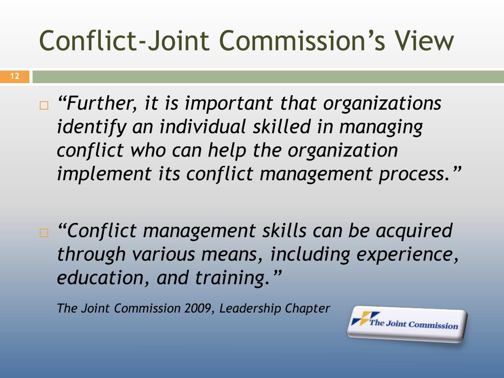 Conflict-Joint Commission's View