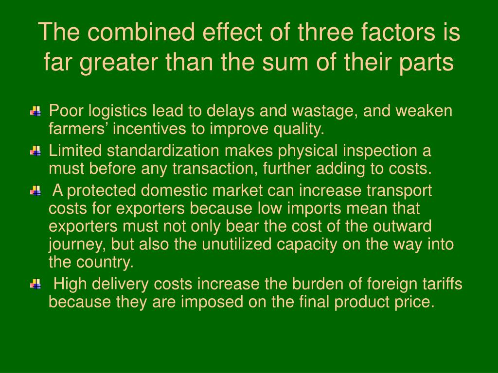 The combined effect of three factors is far greater than the sum of their parts