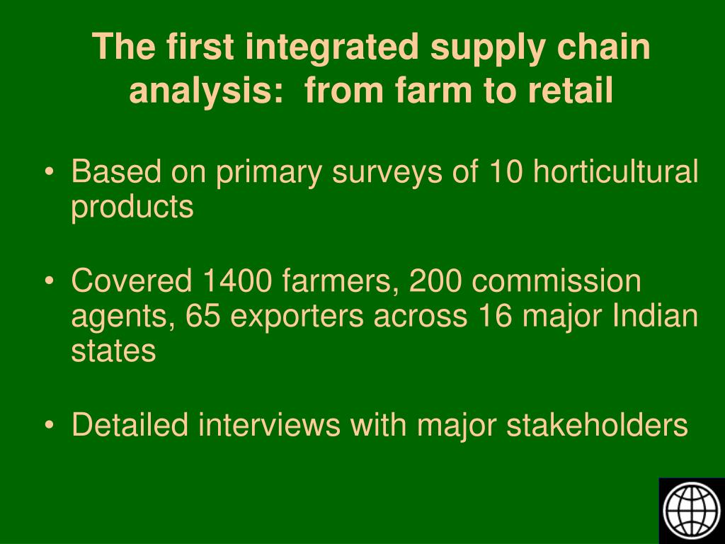 The first integrated supply chain analysis:  from farm to retail