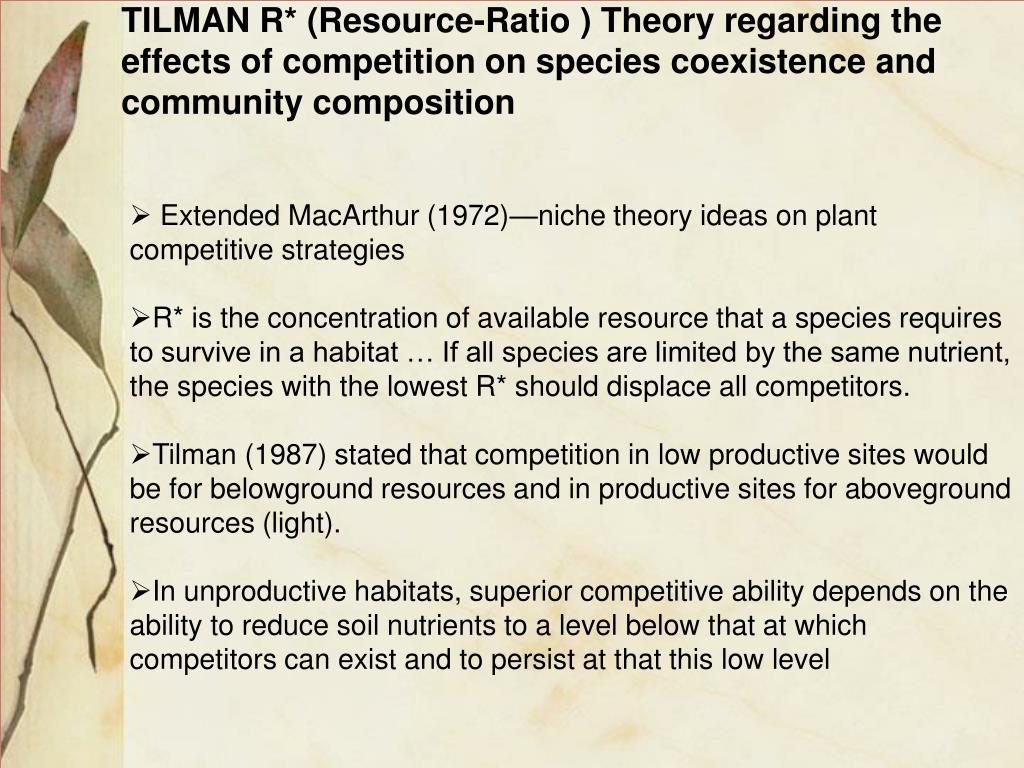 TILMAN R* (Resource-Ratio ) Theory regarding the effects of competition on species coexistence and community composition