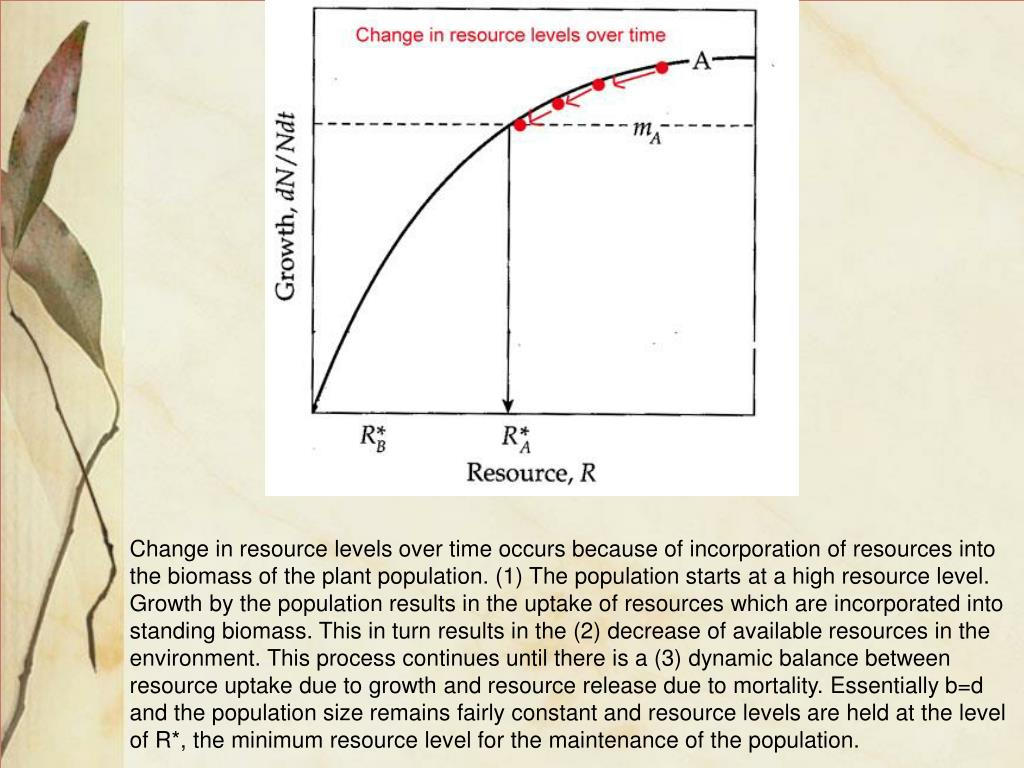 Change in resource levels over time occurs because of incorporation of resources into the biomass of the plant population. (1) The population starts at a high resource level. Growth by the population results in the uptake of resources which are incorporated into standing biomass. This in turn results in the (2) decrease of available resources in the environment. This process continues until there is a (3) dynamic balance between resource uptake due to growth and resource release due to mortality. Essentially b=d and the population size remains fairly constant and resource levels are held at the level of R*, the minimum resource level for the maintenance of the population.