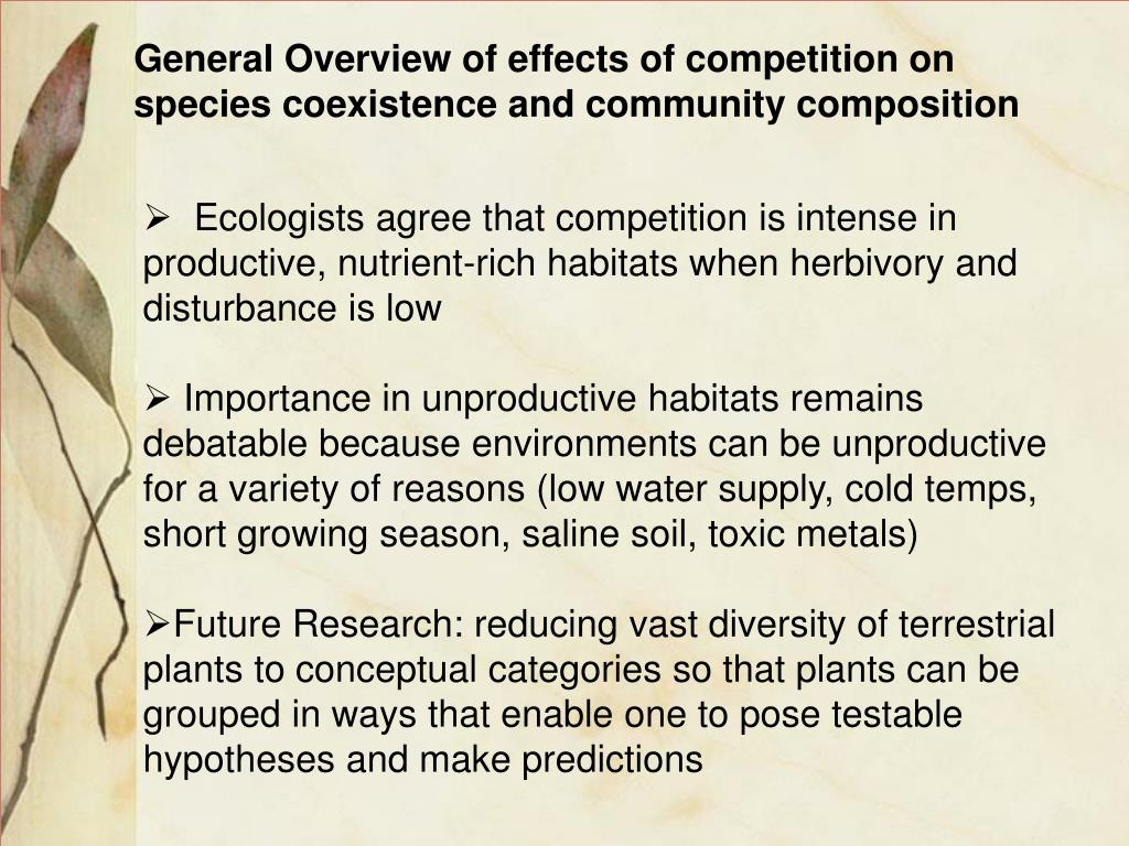 General Overview of effects of competition on species coexistence and community composition