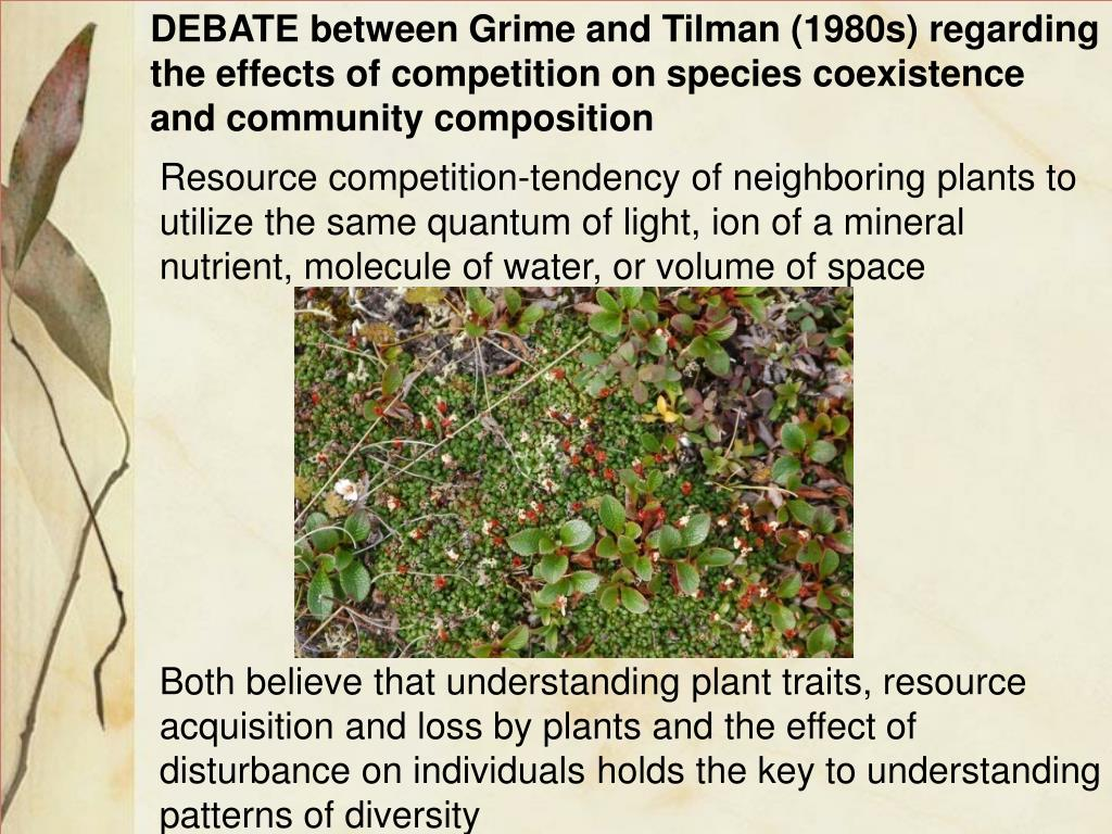 DEBATE between Grime and Tilman (1980s) regarding the effects of competition on species coexistence and community composition