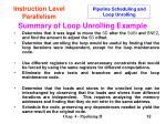 summary of loop unrolling example