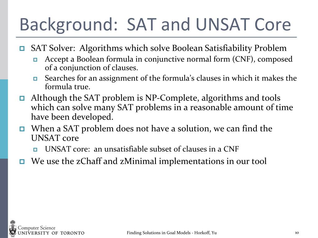 Background:  SAT and UNSAT Core