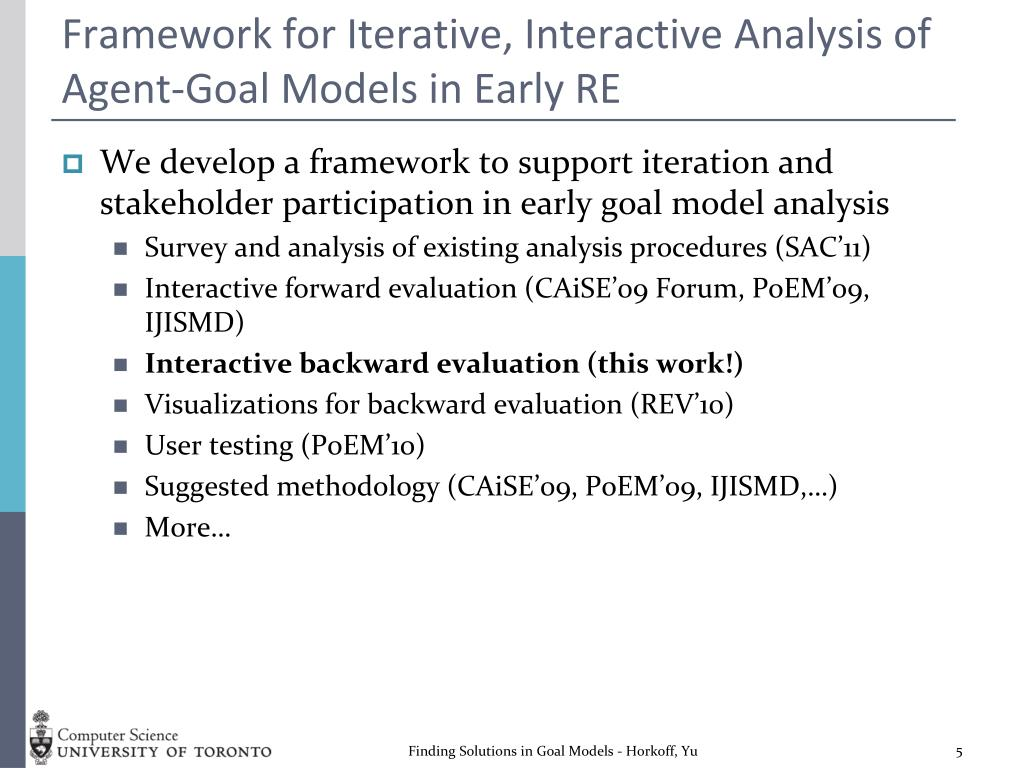 Framework for Iterative, Interactive Analysis of Agent-Goal Models in Early RE