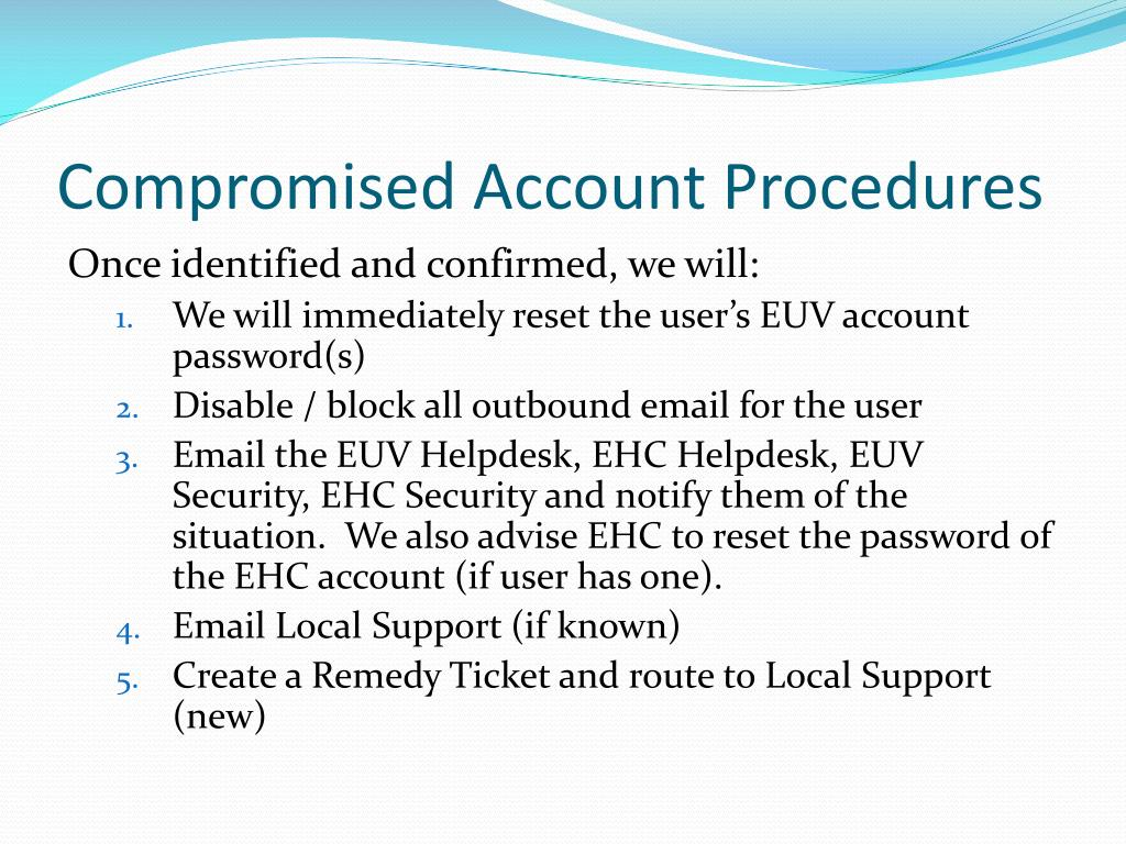Compromised Account Procedures