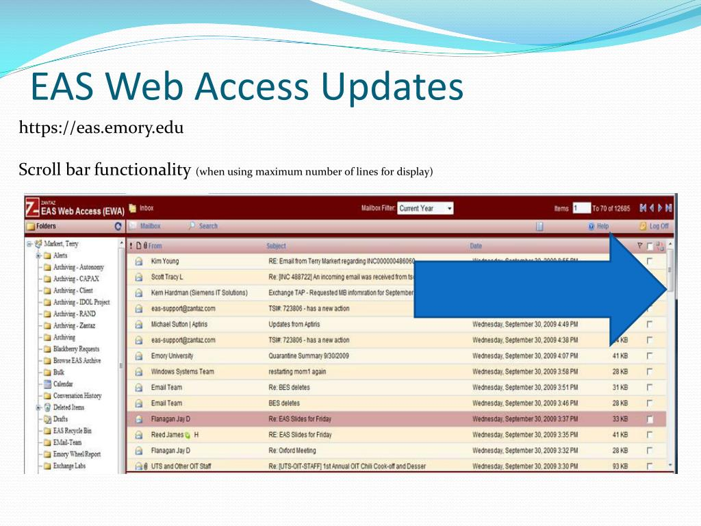 EAS Web Access Updates