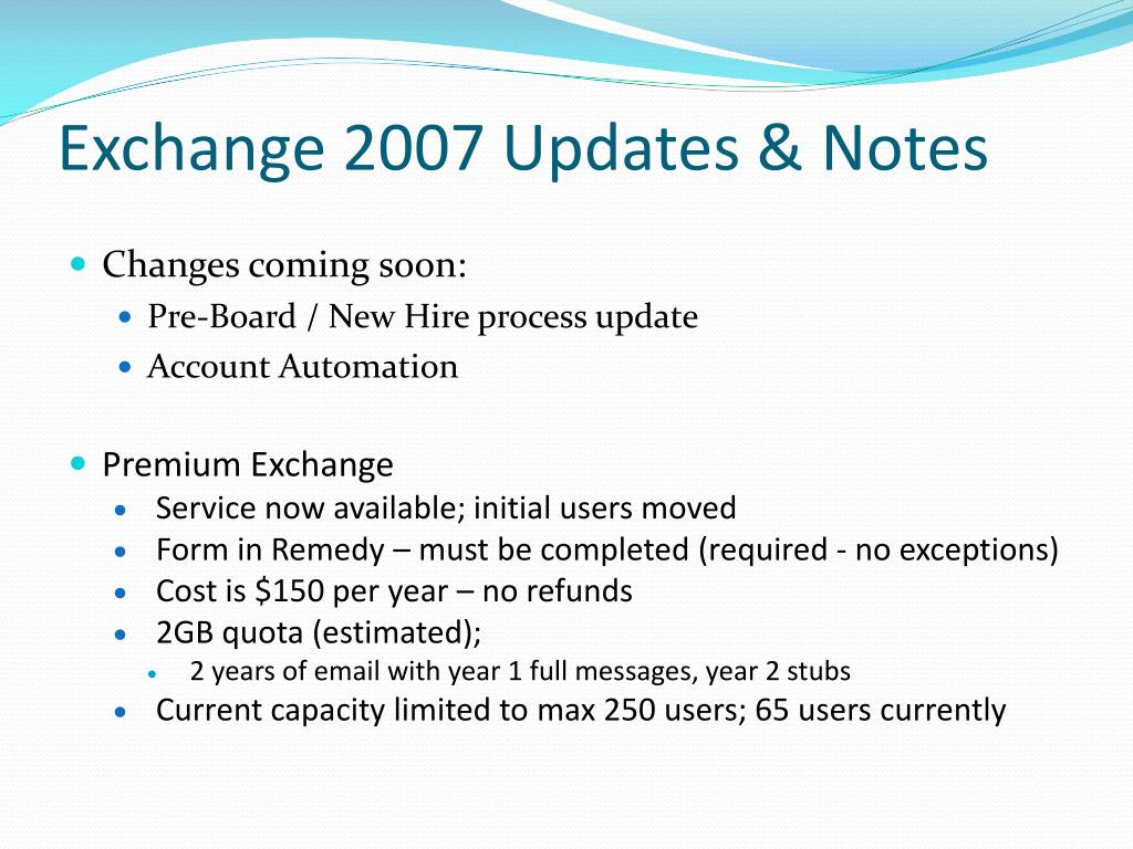 Exchange 2007 Updates & Notes
