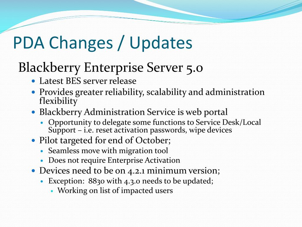 PDA Changes / Updates