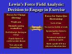 lewin s force field analysis decision to engage in exercise