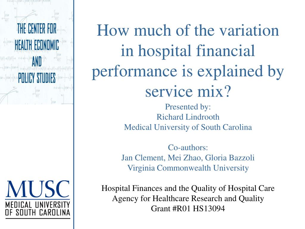 How much of the variation in hospital financial performance is explained by service mix?