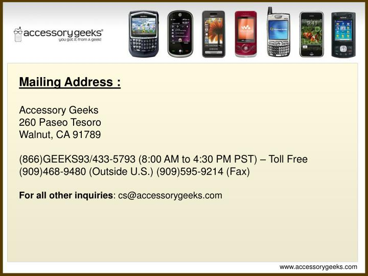 Mailing Address :