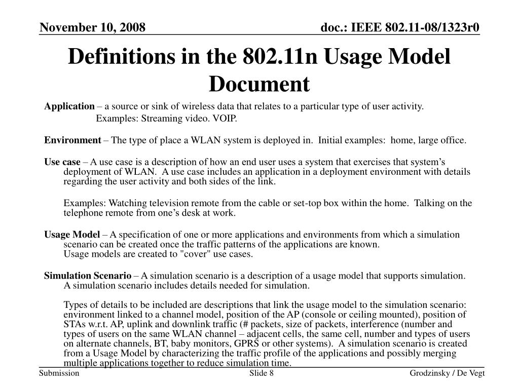 Definitions in the 802.11n Usage Model Document
