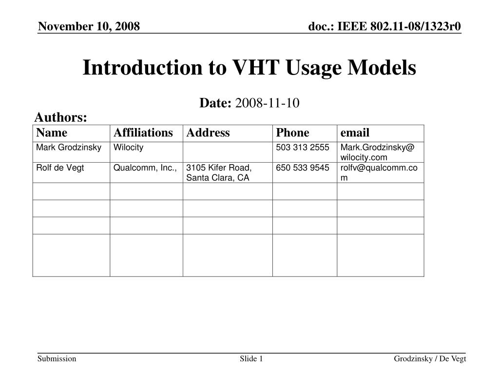 Introduction to VHT Usage Models