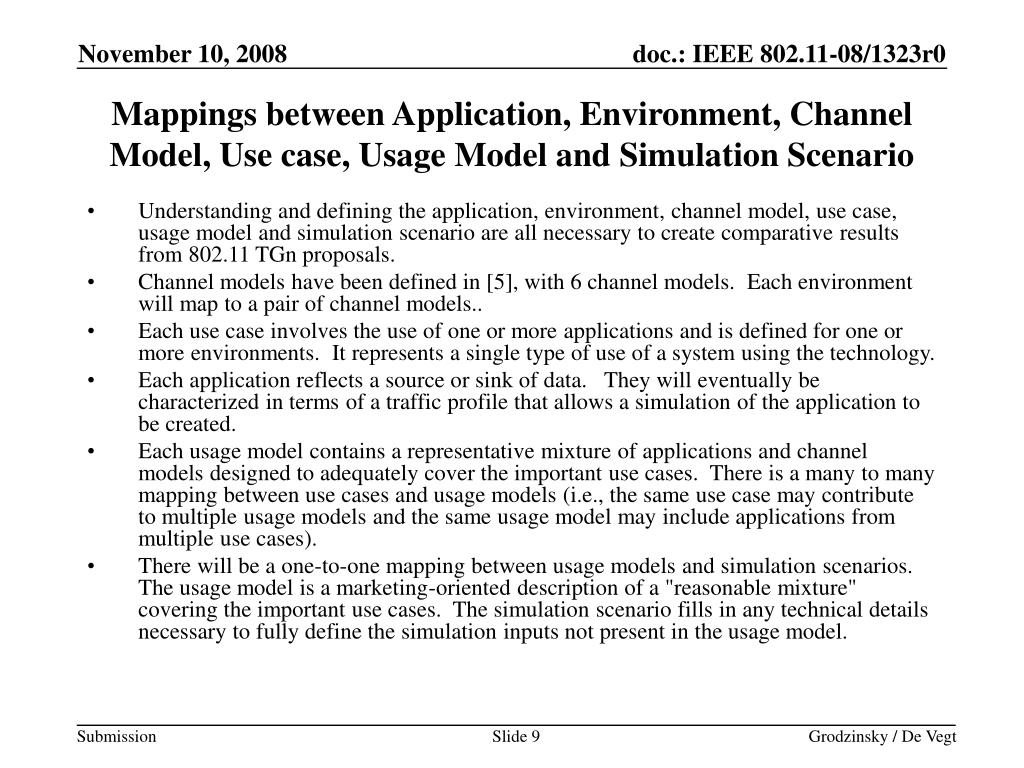 Mappings between Application, Environment, Channel Model, Use case, Usage Model and Simulation Scenario