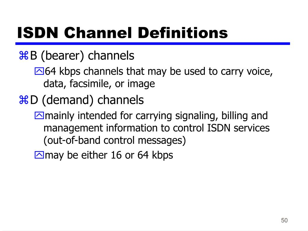 ISDN Channel Definitions