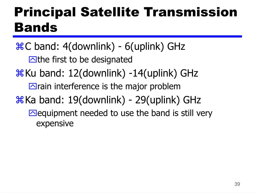 Principal Satellite Transmission Bands