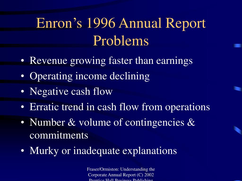 Enron's 1996 Annual Report Problems
