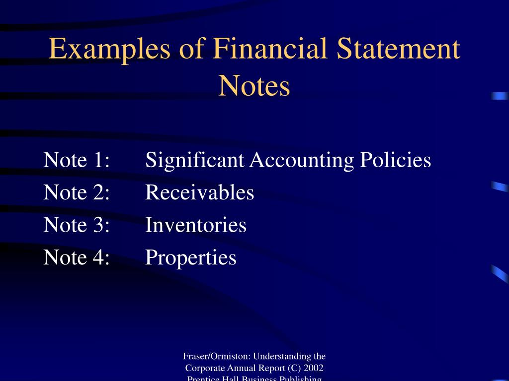 Examples of Financial Statement Notes