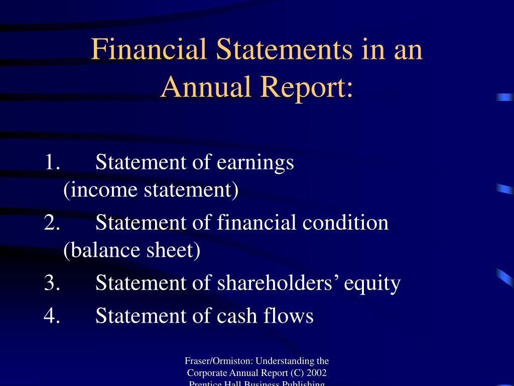 Financial Statements in an Annual Report: