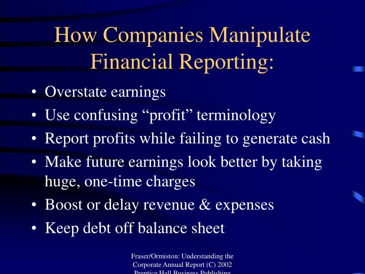 How companies manipulate financial reporting