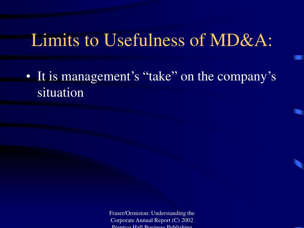 Limits to Usefulness of MD&A:
