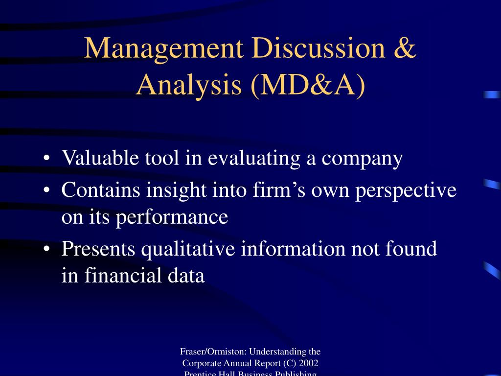 Management Discussion & Analysis (MD&A)