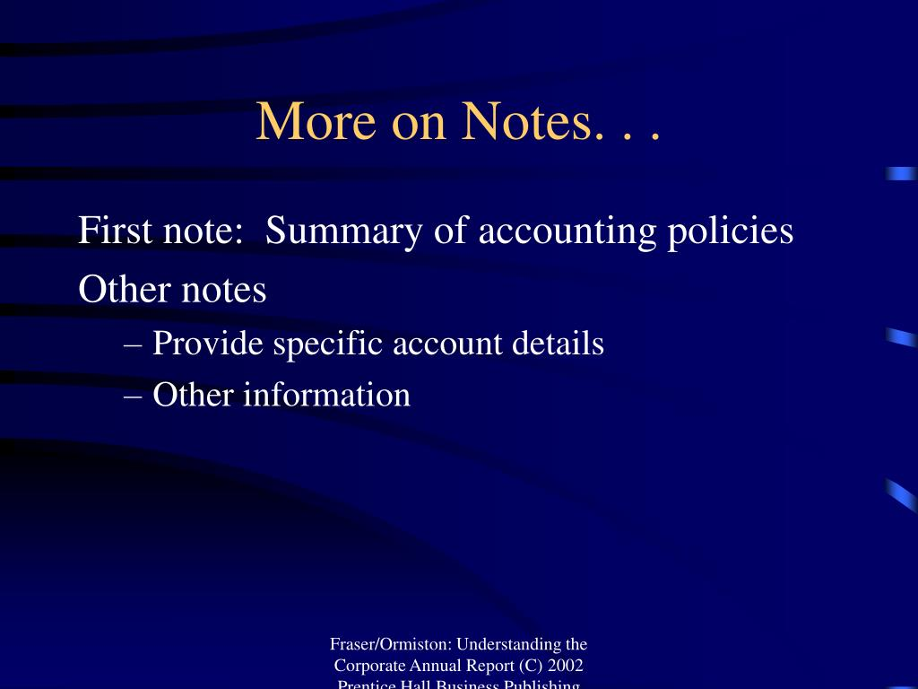 More on Notes. . .