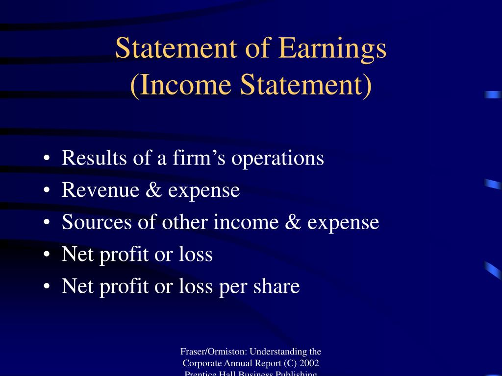 Statement of Earnings