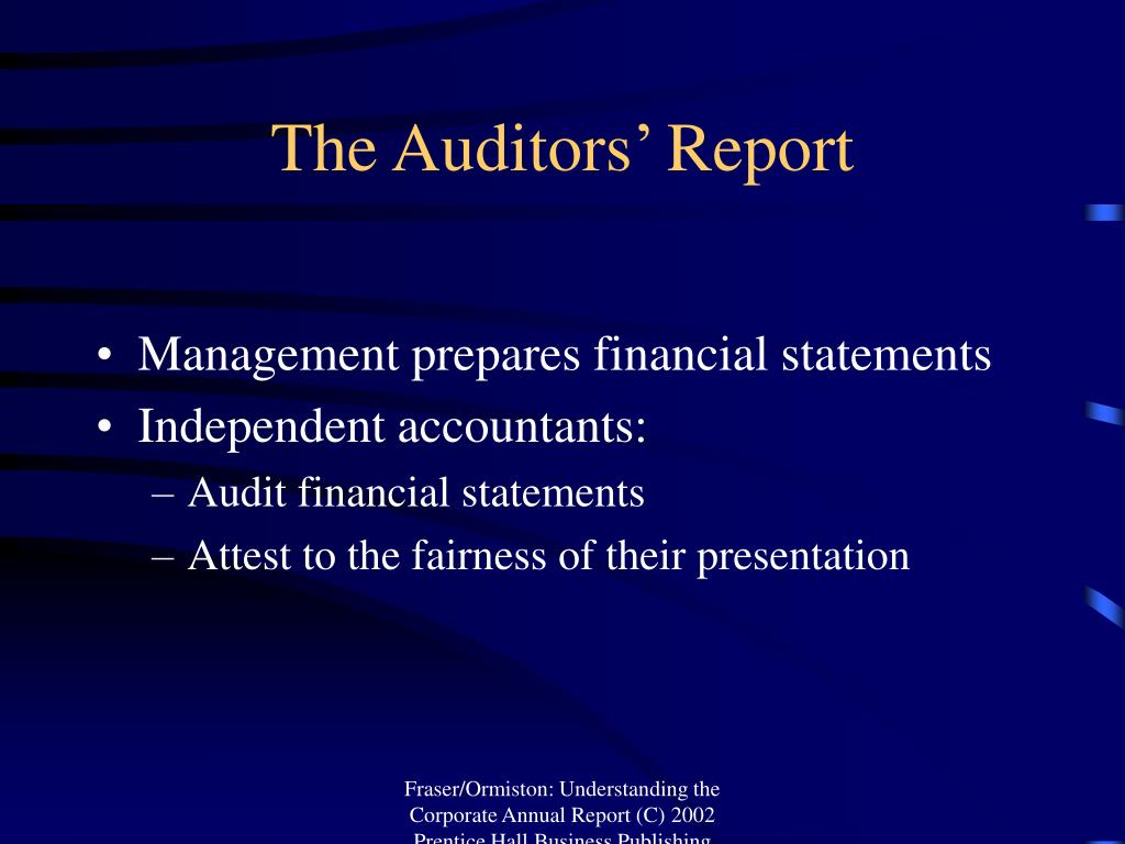 The Auditors' Report