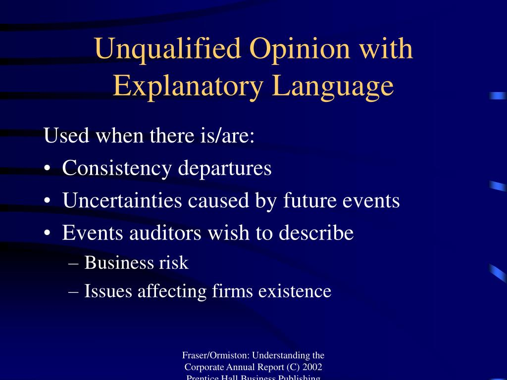 Unqualified Opinion with Explanatory Language