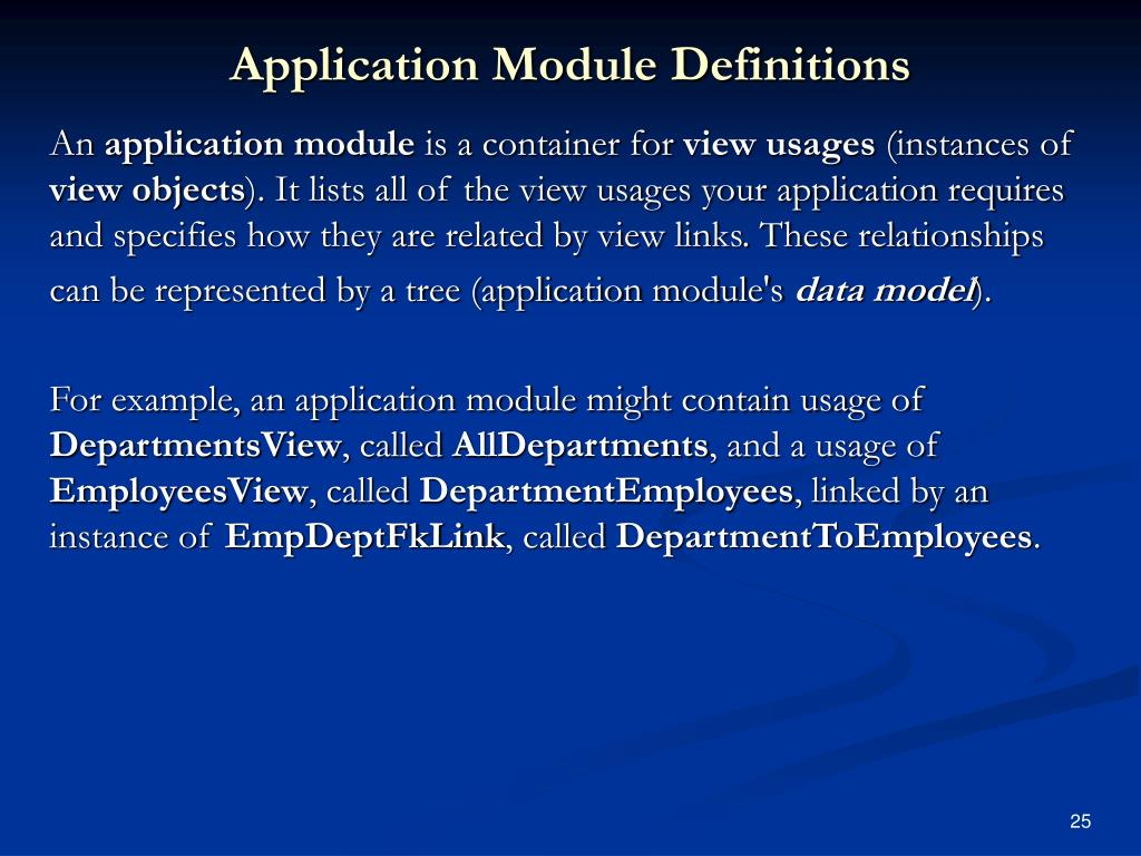 Application Module Definitions